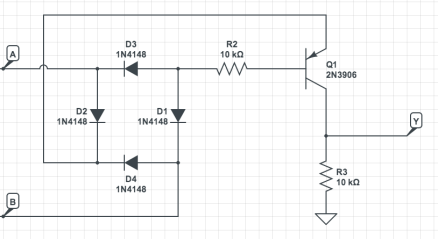 XOR using only diodes and one transistor.